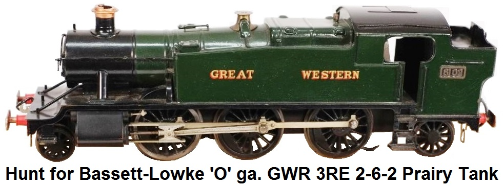Hunt for Bassett-Lowke 'O' gauge 3 rail electric 2-6-2 Prairie Tank Locomotive #6102 in GWR green livery