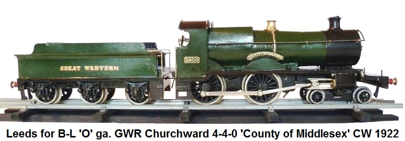 Bassett-Lowke by Leeds 'O' ga G.W.R. Churchward 4-4-0 County locomotive 'County of Middlesex' clockwork from 1922