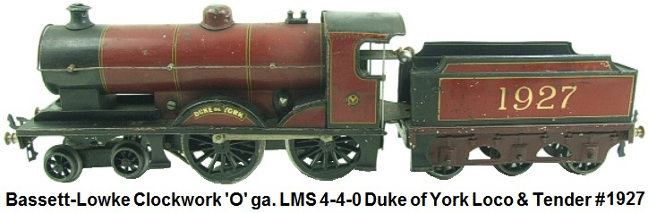Bassett-Lowke 'O' gauge Clockwork LMS 4-4-0 #1927 Duke of York Loco & Tender
