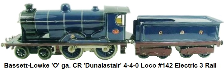 Bassett-Lowke 'O' gauge CR 4-4-0 Loco & Tender Dunalastair #142 Electric 3 Rail