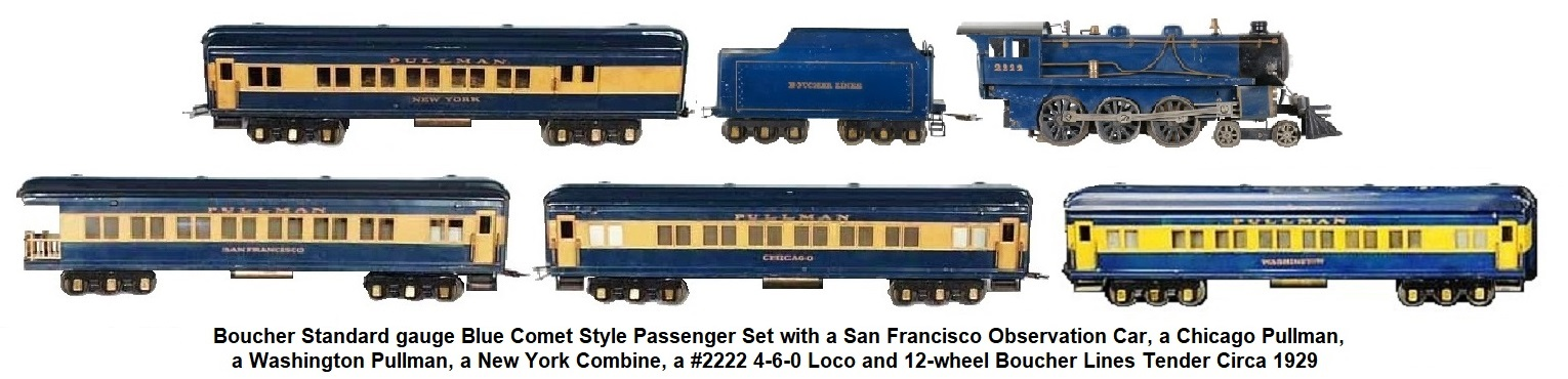 Boucher Standard gauge Blue Comet Combo, Pullman & Observation car with #2222 4-6-0 Loco & tender