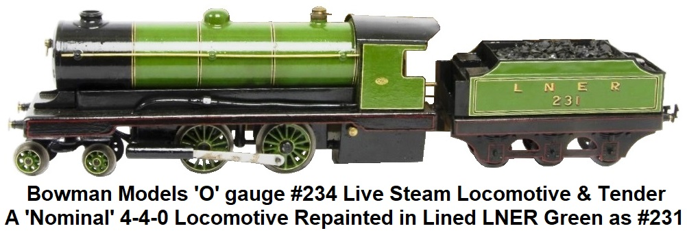 Bowman O gauge #234 4-4-0 Live Steam Loco and Tender repainted in lined L.N.E.R. green as #231
