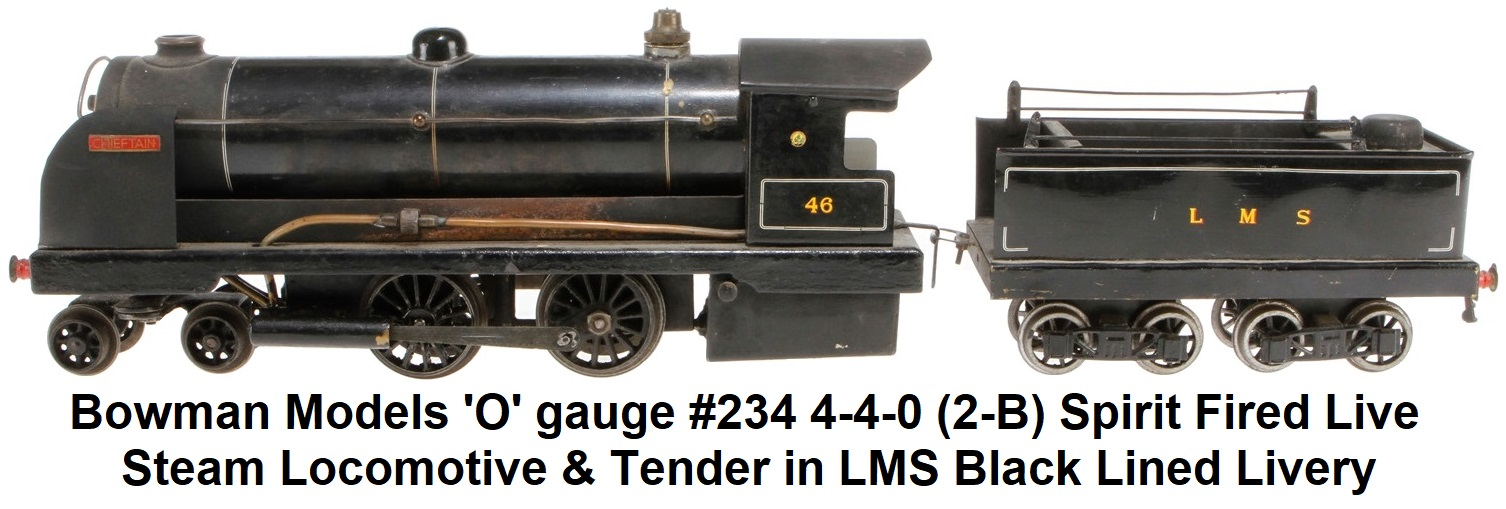 Bowman Models 'O' gauge #234 4-4-2 Steam Loco in LMS black with smoke deflectors