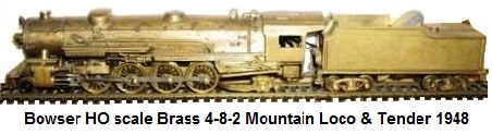 Bowser HO scale Brass 4-8-2 Mountain Loco With Tender acquired from Knapp 1946