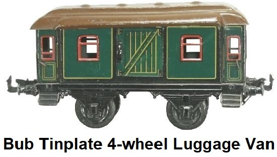 Bub 1 gauge 4 wheel tinplate baggage car