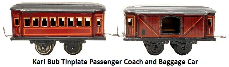 Karl Bub 'O' gauge Tinplate 4 wheel Passenger Coach & Baggage Car