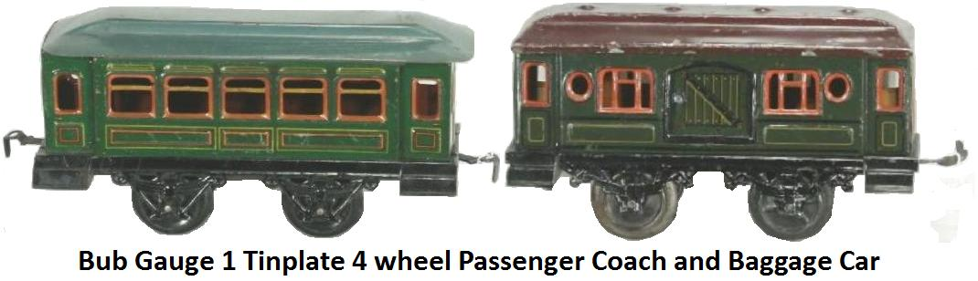 Bub Gauge 1 Tinplate 4 Wheel Passenger Coach & Baggage Car