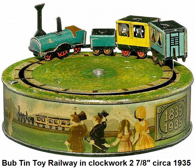 Bub Miniature Tin Toy Railway circa 1935, clockwork 2 7/8 in., lithographed tin, manufactured in commemoration 