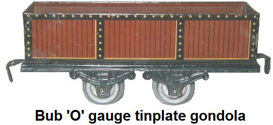 Bub 'O' gauge tinplate litho simulated wood sided gondola