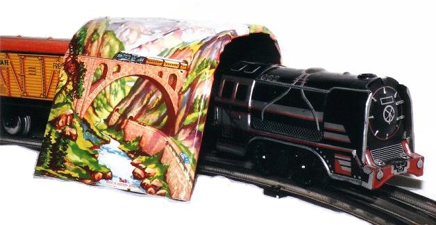 Bub tin plate train set and tunnel