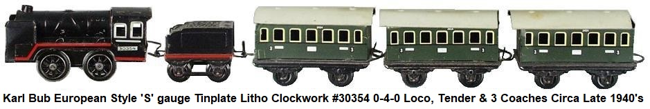 Bub 'S' gauge tinplate litho clockwork 0-4-0 steam outline loco with tender, and 3 passenger wagons circa mid 1940's