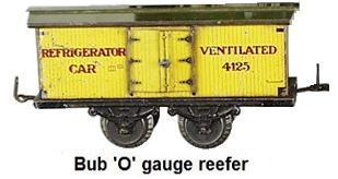 Bub 'O' gauge 1930's #4125 Refrigerator Car 5-3/4 inches L x 2 inches W x 3 inches High