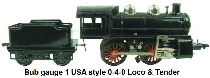 Bub gauge 1 USA Style 0-4-0 Loco & Tender Electric for 3 rail track
