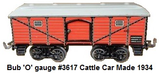 Bub 'O' gauge #3617 cattle wagon made 1934