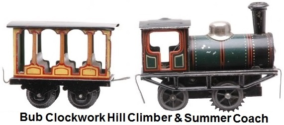 Karl Bub prewar clockwork hill climbing steam locomotive with summer passenger car. Train is smaller than 'O' gauge with track size approximately 24mm