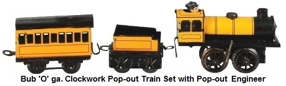 Bub passenger train set with pop-out conductor with engine, tender, and passenger car