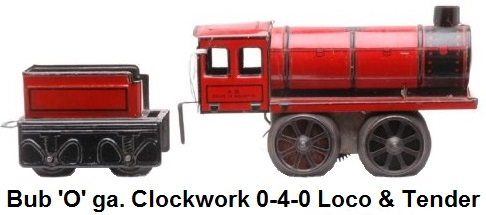 Bub prewar 'O' gauge clockwork 0-4-0 steam loco with four-wheel tender