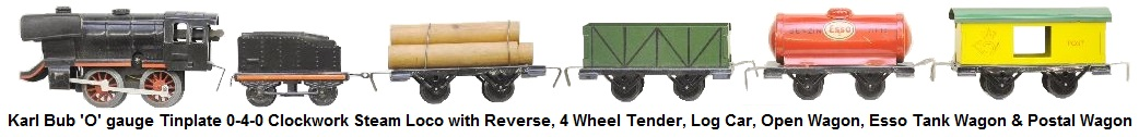 Bub 'O' gauge clockwork 0-4-0 steam loco with reverse, tender, log car, open wagon, tank car, and postal wagon