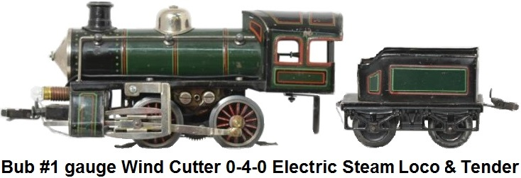 Bub gauge 1 wind cutter 0-4-0 steam locomotive & tender