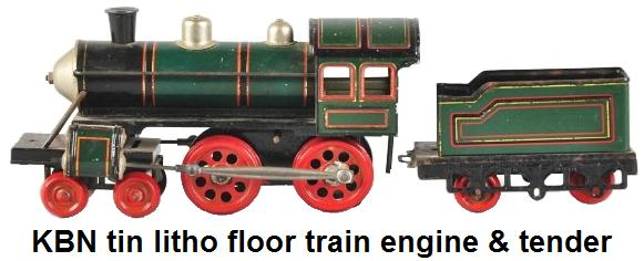 Bub KBN tin litho Floor Train Engine & Tender