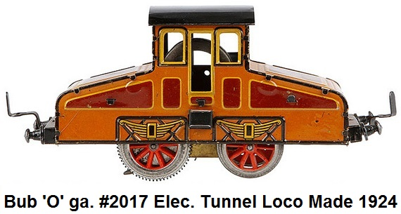 Bub 'O' Scale #2017 Electric Tunnel Locomotive made 1924