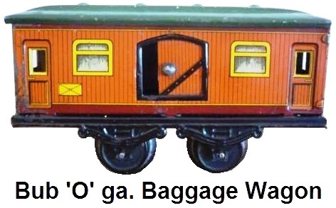 Karl Bub 'O' gauge Tinplate 4 wheel Baggage Car with windows