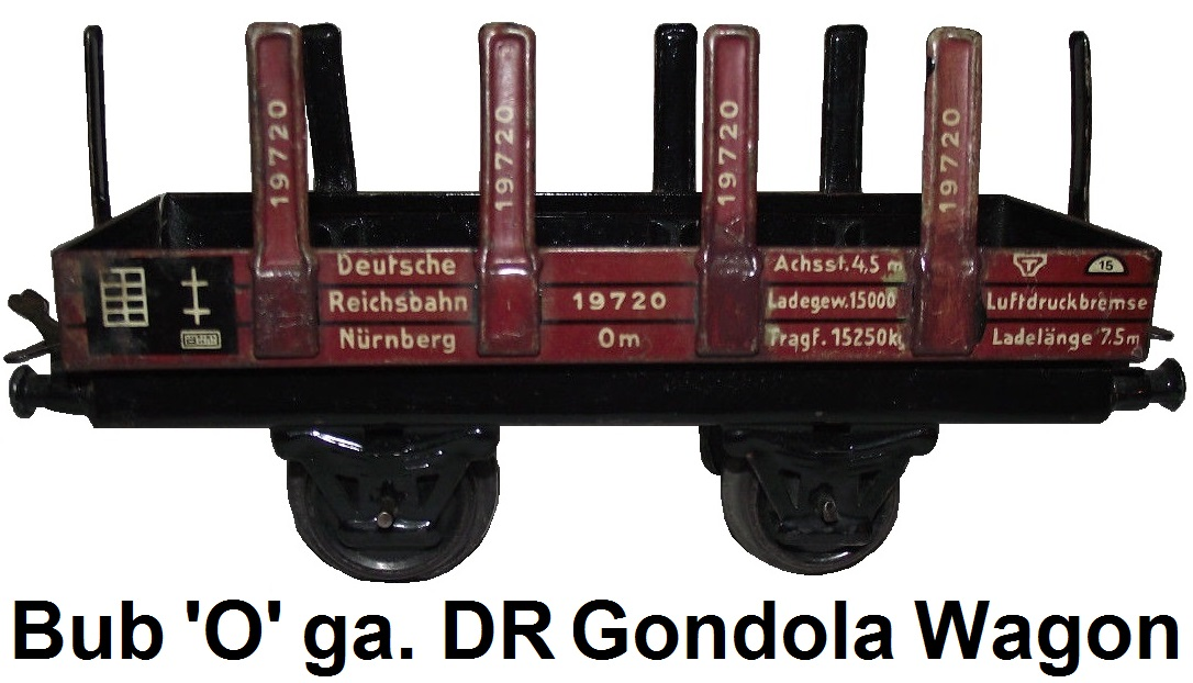 Bub tinplate litho gondola for 'O' gauge Reichsbahn DR