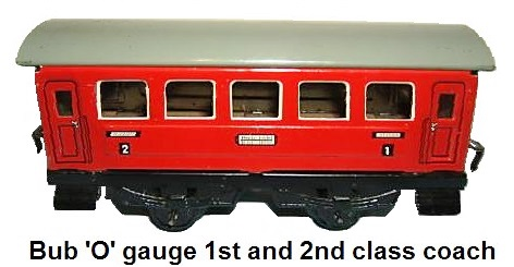 Bub 'O' gauge 1st and 2nd class coach