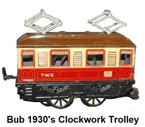 Bub 'O' gauge #388L 0-4-0 clockwork trolley made 1936-37