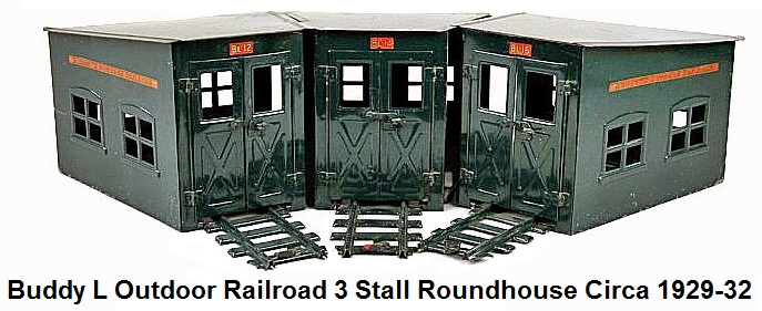 Buddy L Railroad 3 stall Roundhouse made of pressed steel circa 1929-32