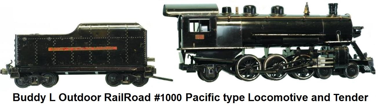 Buddy L #1000 Pacific type 3¼ inch gauge loco & tender first made in 1927