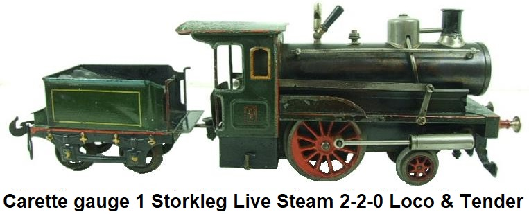Carette gauge 1 Stork Leg live steam 2-2-0 loco & tender