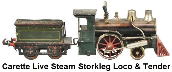 Carette live steam Stork Leg locomotive & tender