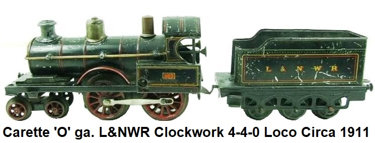 Carette 'O' gauge, 4-4-0 Loco & six wheeled Tender, RN 513, Clockwork circa 1911