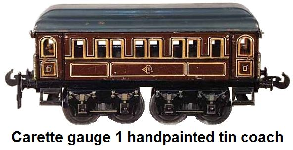 Carette 1 gauge handpainted tin coach