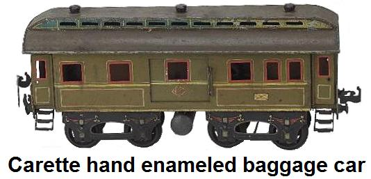 Carette hand enameled 4 wheel truck baggage coach with hinged roof