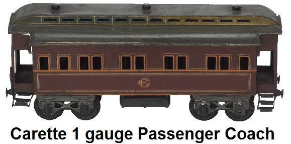 Carette 1 gauge Passenger Coach hand enameled with hinged roof and outfitted interior