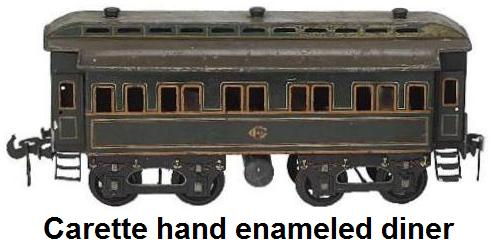 Carette hand enameled 4 wheel diner coach with hinged roof