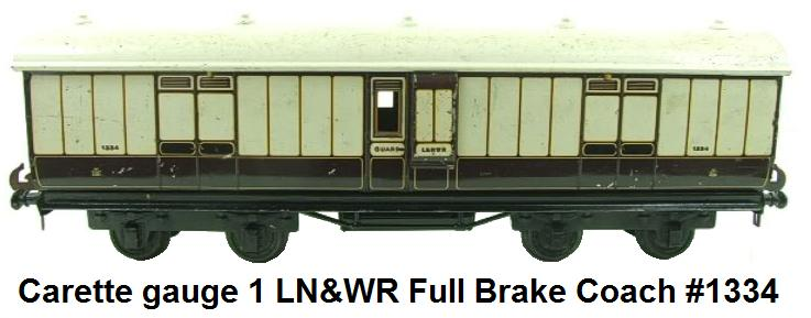 Carette gauge 1 LN&WR Full Brake Coach RN 1334