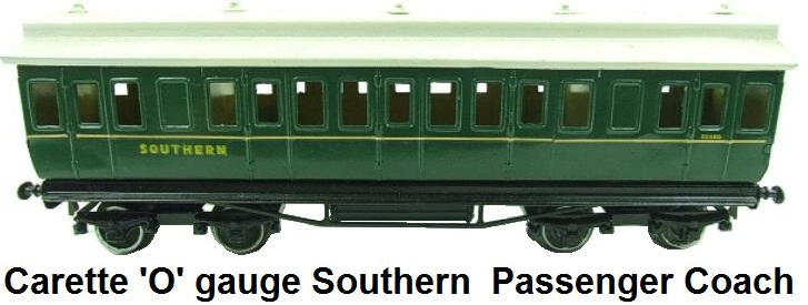 Carette 'O' gauge Southern  Passenger Coach Raised Roof Top Edition