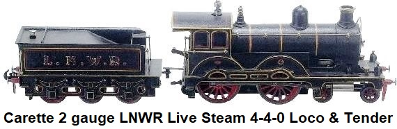 Carette 2 Gauge Live Steam 4-4-0 Engine & Tender