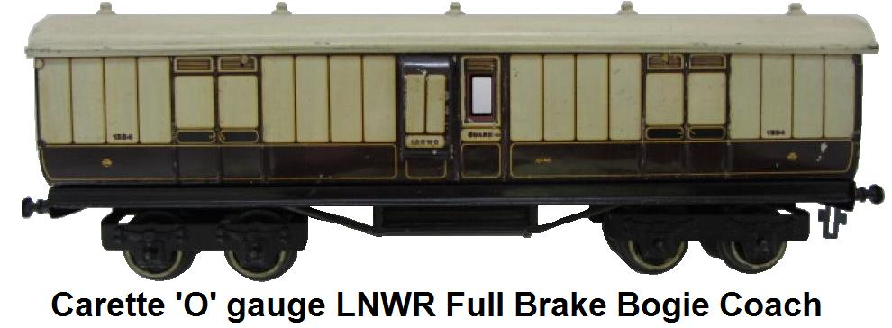 Carette 'O' gauge LNWR Full Brake Bogie Coach