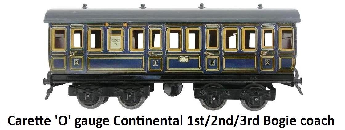 Carette 'O' gauge Continental Blue First Second and Third Class Short Eight Wheeled Double Bogie Coach with opening doors and interior