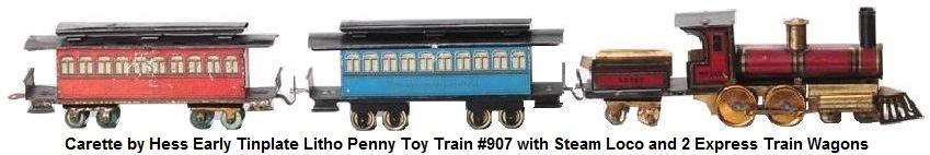 Hess for Carette Early Tinplate Litho Penny Toy Train Set #907 with loco, tender and 2 Express Coaches