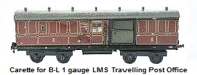 Carette for Bassett-Lowke gauge 1 1924 travelling post office
