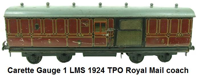 Carette Gauge 1 LMS 1924 TPO Royal Mail Coach