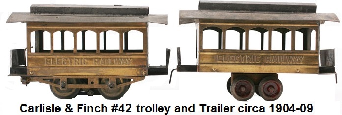 Carlisle & Finch 2 inch gauge #42 five window Trolley and Trailer circa 1904-09, originally sold for $3.35