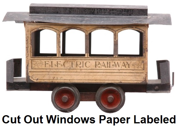 Carlisle & Finch #1 four window trolley in 2 inch gauge - early version with paper labels and cut out windows