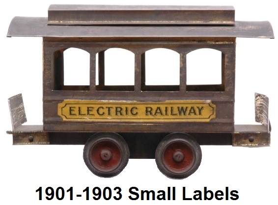 Carlisle & Finch #1 four window trolley in 2 inch gauge - small label version circa 1901-1903