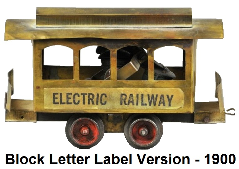 Carlisle & Finch #1 four window trolley in 2 inch gauge - 1900 version with block lettered labels